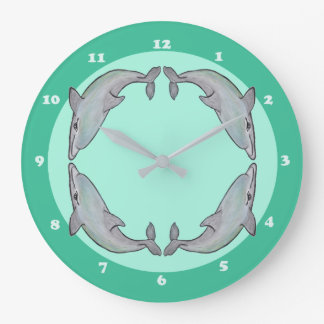 Beautiful Dolphins in Watercolours Clock