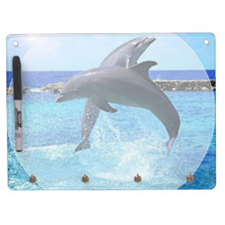 Beautiful Dolphins playing in the ocean Dry Erase Board With Key Ring Holder
