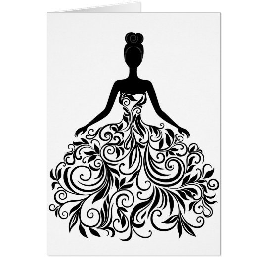 Beautiful Dress Girl Wedding Party Long Card