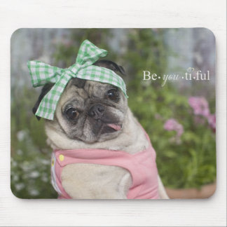 Beautiful dressed up Chinese pug image Mouse Mat