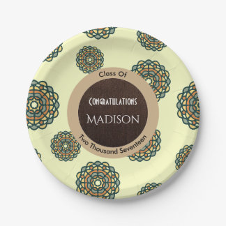 Beautiful Earth Tone Abstract Graduation Paper Plate