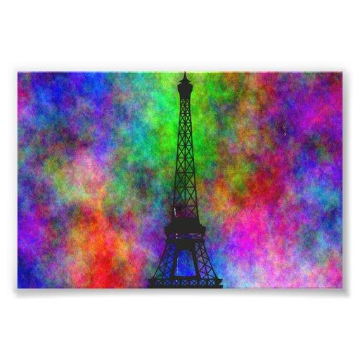 Beautiful Eiffel tower colorful cloth back effects Photo Art