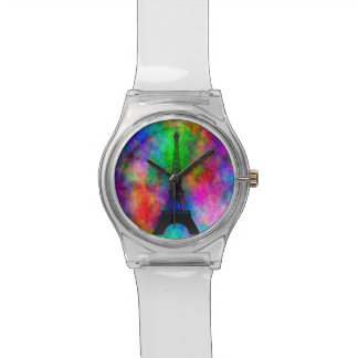 Beautiful Eiffel tower colorful cloth back effects Watch