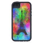 Beautiful Eiffel tower colourful cloth back Case For The iPhone 5