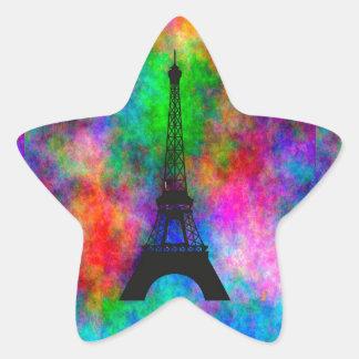 Beautiful Eiffel tower Paris colorful cloth effect Star Sticker