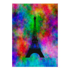 Beautiful Eiffel tower Paris colourful cloth Poster