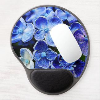 Beautiful elegant abstract soft blue flower design gel mouse pad