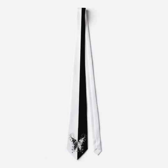Beautiful elegant black and white butterfly swirls tie