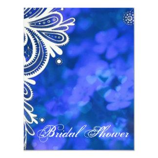 Beautiful elegant blue flowers white lace design custom announcements
