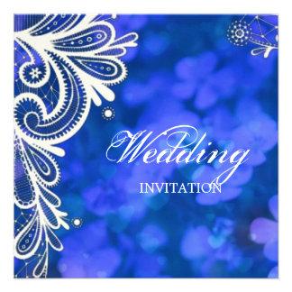 Beautiful elegant blue flowers white lace design custom invitation