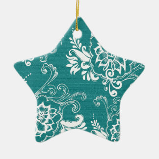 Beautiful elegant classic teal and white floral christmas ornaments