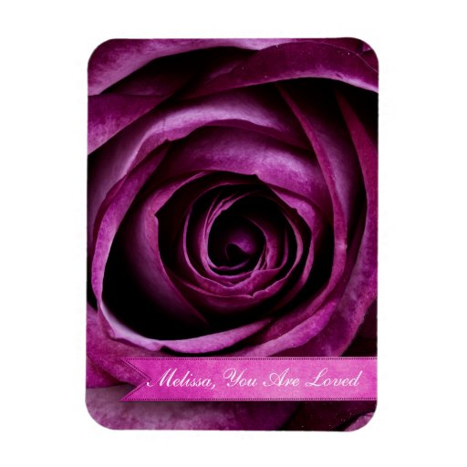 Beautiful Elegant Dramatic Purple Rose with Ribbon Rectangle Magnets