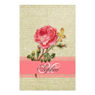 Beautiful  elegant girly monogram vintage roses stationery