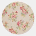Beautiful elegant girly vintage floral pattern round sticker