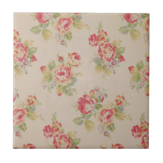 Beautiful elegant girly vintage floral pattern small square tile