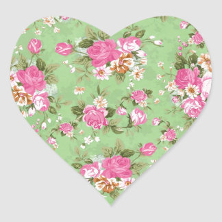 Beautiful elegant girly vintage roses flowers heart sticker