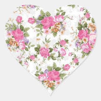 Beautiful elegant girly vintage roses flowers heart sticker