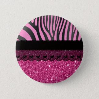 Beautiful elegant girly  zebra lace glitter effect 6 cm round badge