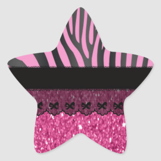Beautiful elegant girly  zebra lace glitter star sticker