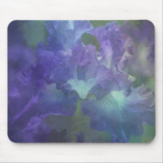 Beautiful elegant soft purple and blue iris mouse pad