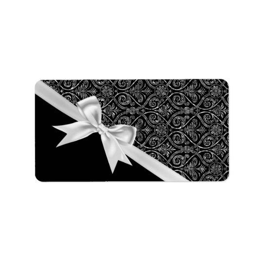 Beautiful elegant trendy black and white damask label