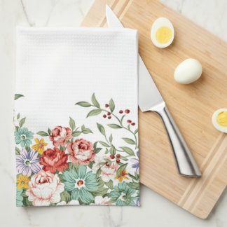 Beautiful elegant vintage spring floral bouquets tea towel