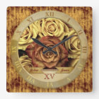 Beautiful Elegant Vintage Yellow Roses Gold Ribbon Square Wall Clock