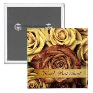 Beautiful Elegant Vintage Yellow Roses with Ribbon 15 Cm Square Badge