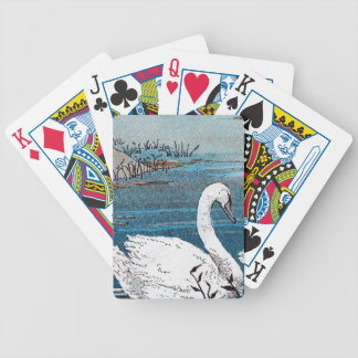 Beautiful Elegant White Swan Swimming in Lake Bicycle Playing Cards