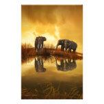 beautiful elephant Thailand sunset Custom Stationery