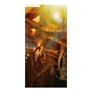 Beautiful elf flying in the sunset personalized photo card
