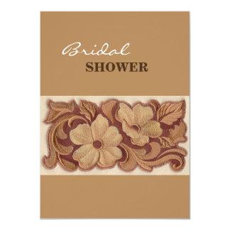 Beautiful Embroidery Flowers 11 Cm X 16 Cm Invitation Card
