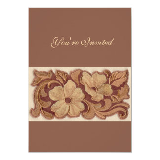 Beautiful Embroidery Flowers 13 Cm X 18 Cm Invitation Card