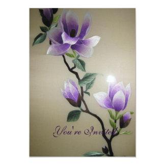 Beautiful Embroidery Flowers 13 Cm X 18 Cm Invitation Card