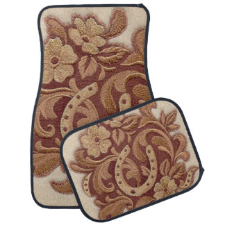 Beautiful Embroidery Flowers and Horseshoes Car Mat