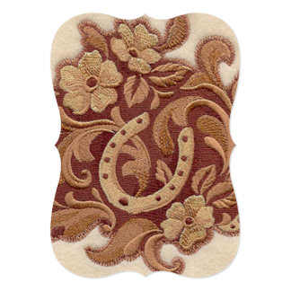 """Beautiful Embroidery Flowers and Horseshoes 5"""" X 7"""" Invitation Card"""