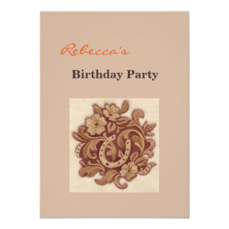 Beautiful Embroidery Flowers and Horseshoes 11 Cm X 16 Cm Invitation Card