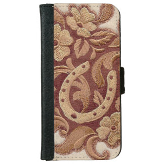 Beautiful Embroidery Flowers and Horseshoes iPhone 6 Wallet Case