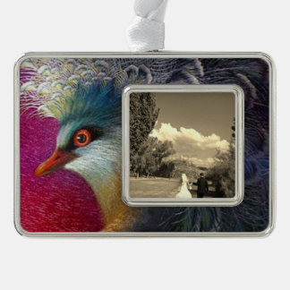 Beautiful Embroidery Phoenix Silver Plated Framed Ornament
