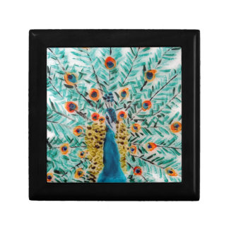 Beautiful Emerald Green and Turquoise Peacock Art Gift Box