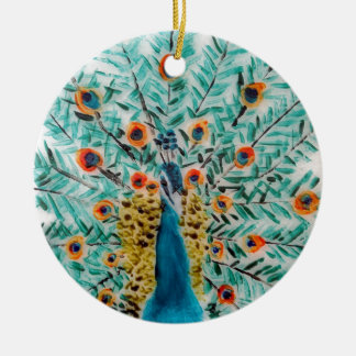 Beautiful Emerald Green and Turquoise Peacock Christmas Ornament