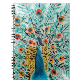 Beautiful Emerald Green and Turquoise Peacock Notebooks