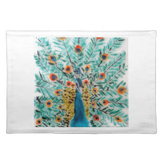 Beautiful Emerald Green and Turquoise Peacock Placemat