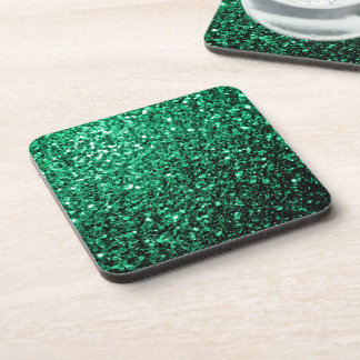 Beautiful Emerald Green glitter sparkles Coaster