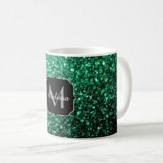 Beautiful Emerald Green glitter sparkles Monogram Coffee Mug