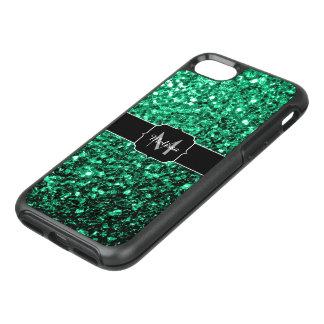 Beautiful Emerald Green glitter sparkles Monogram OtterBox Symmetry iPhone 8/7 Case