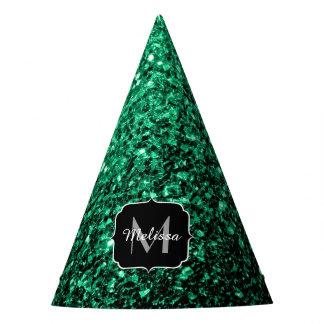 Beautiful Emerald Green glitter sparkles Monogram Party Hat