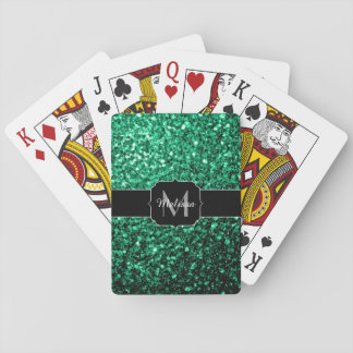 Beautiful Emerald Green glitter sparkles Monogram Playing Cards