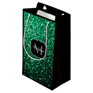 Beautiful Emerald Green glitter sparkles Monogram Small Gift Bag