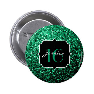 Beautiful Emerald Green glitter sparkles Sweet 16 6 Cm Round Badge